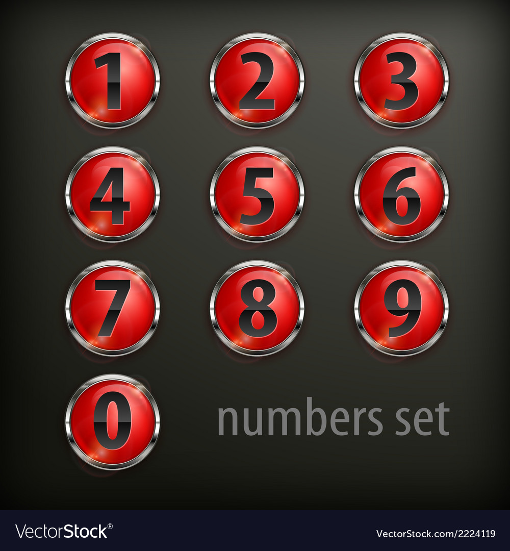 Red round buttons with number vector | Price: 1 Credit (USD $1)