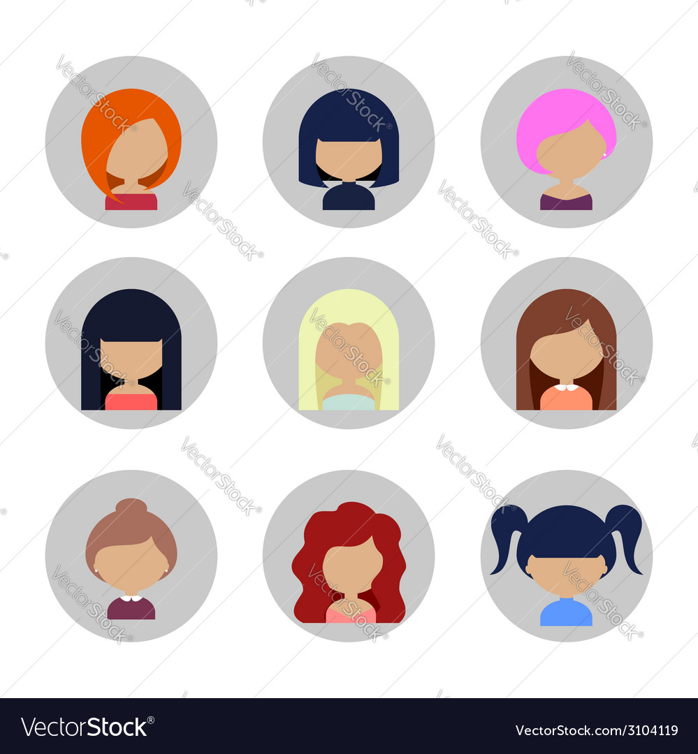 Set of women faces icons in flat design vector | Price: 1 Credit (USD $1)