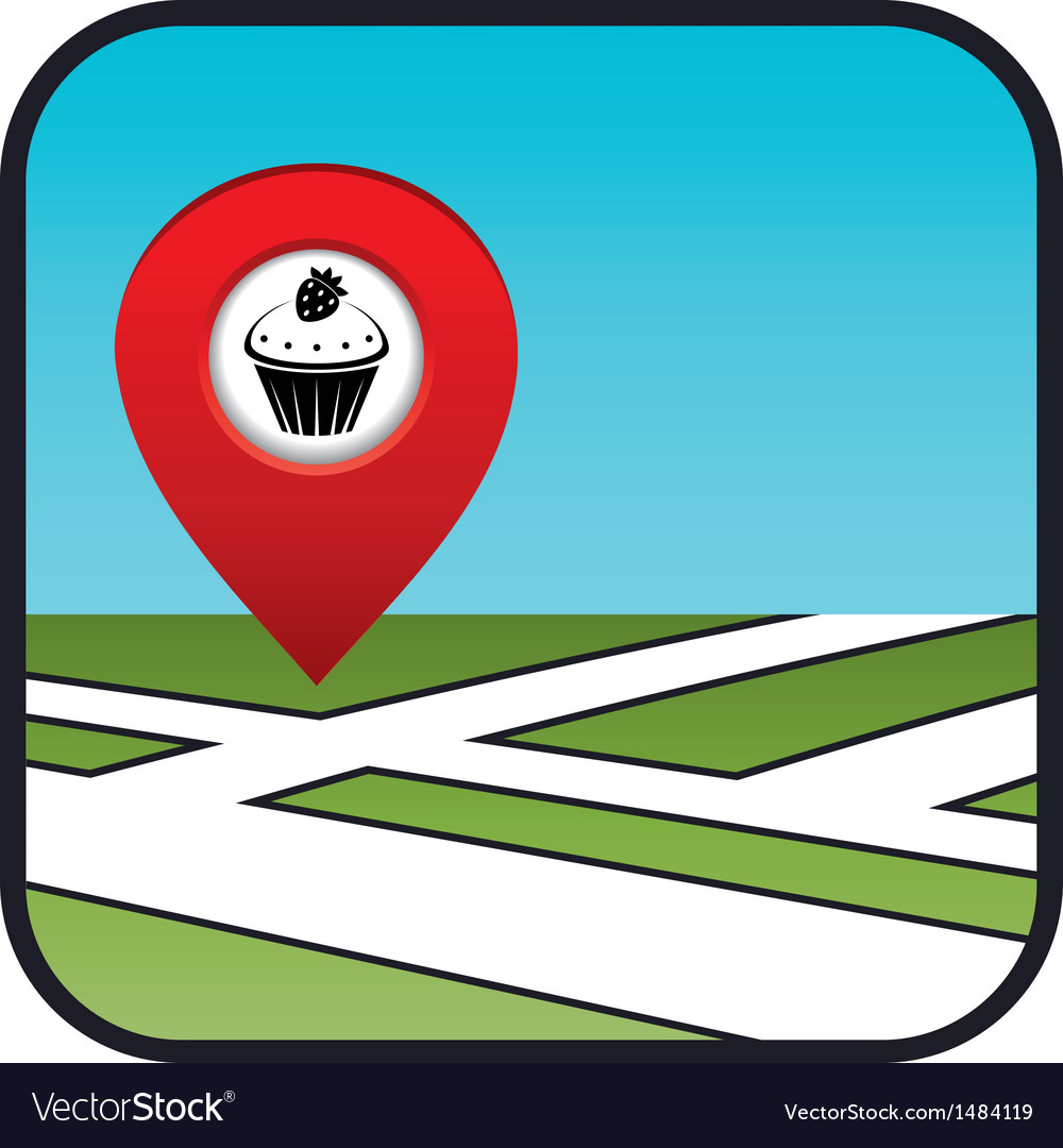 Street map icon with the pointer confectionery vector | Price: 1 Credit (USD $1)