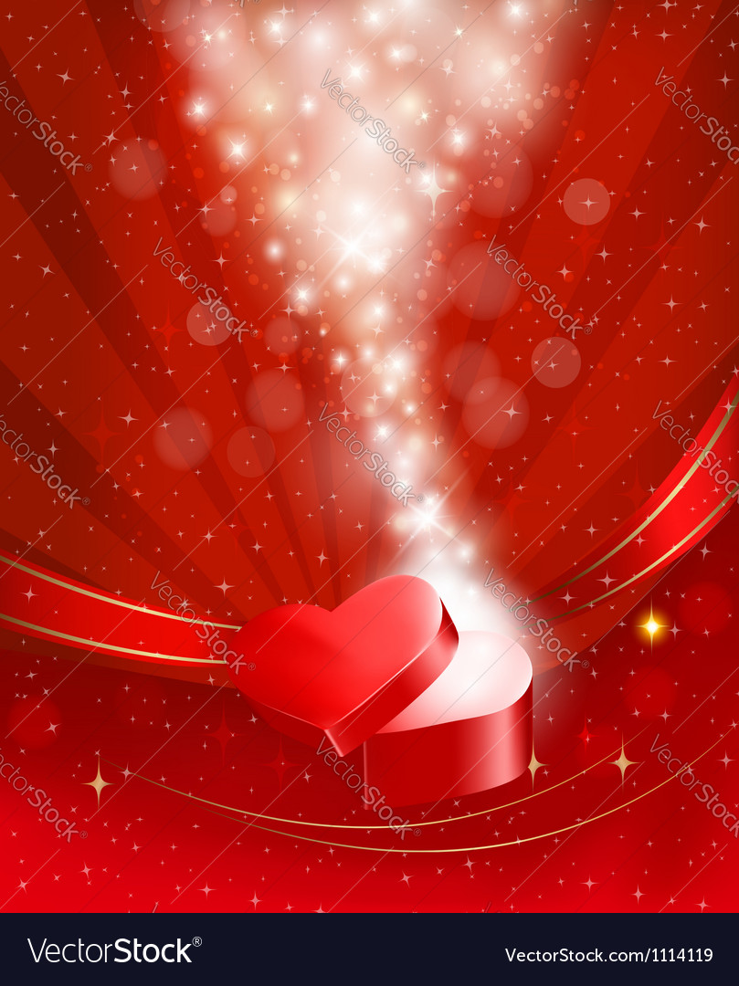 Valentines day background with open red gift box vector | Price: 1 Credit (USD $1)