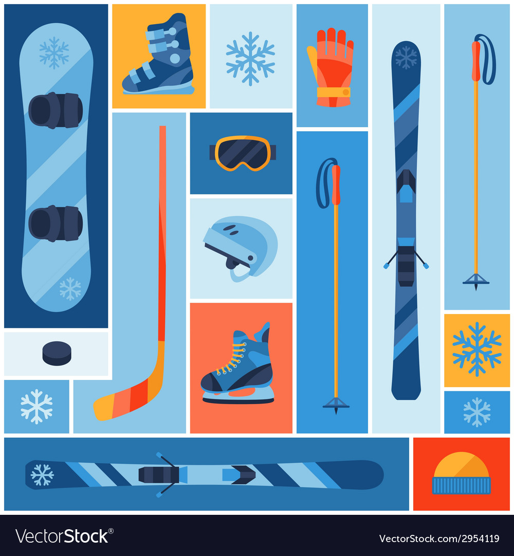 Winter sports background with equipment flat icons vector | Price: 1 Credit (USD $1)