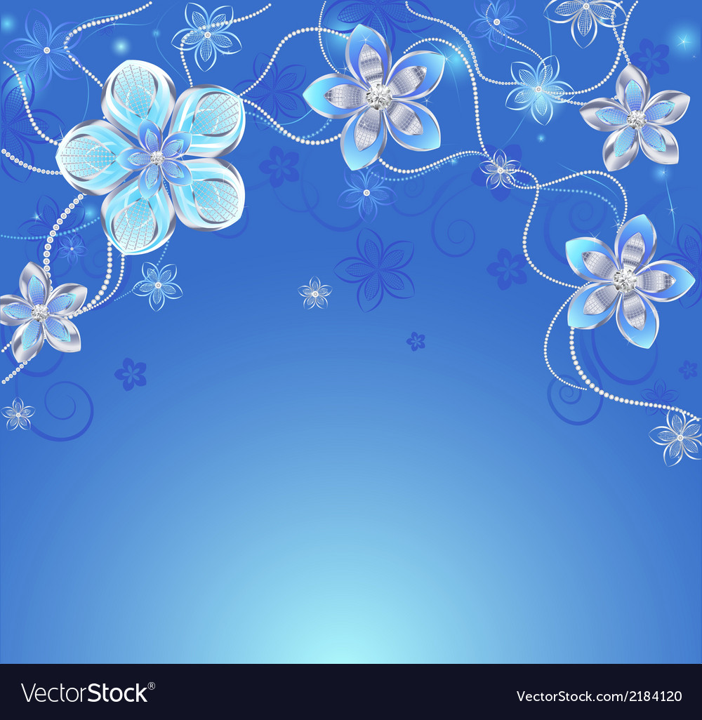 Blue background with silver flowers vector | Price: 1 Credit (USD $1)
