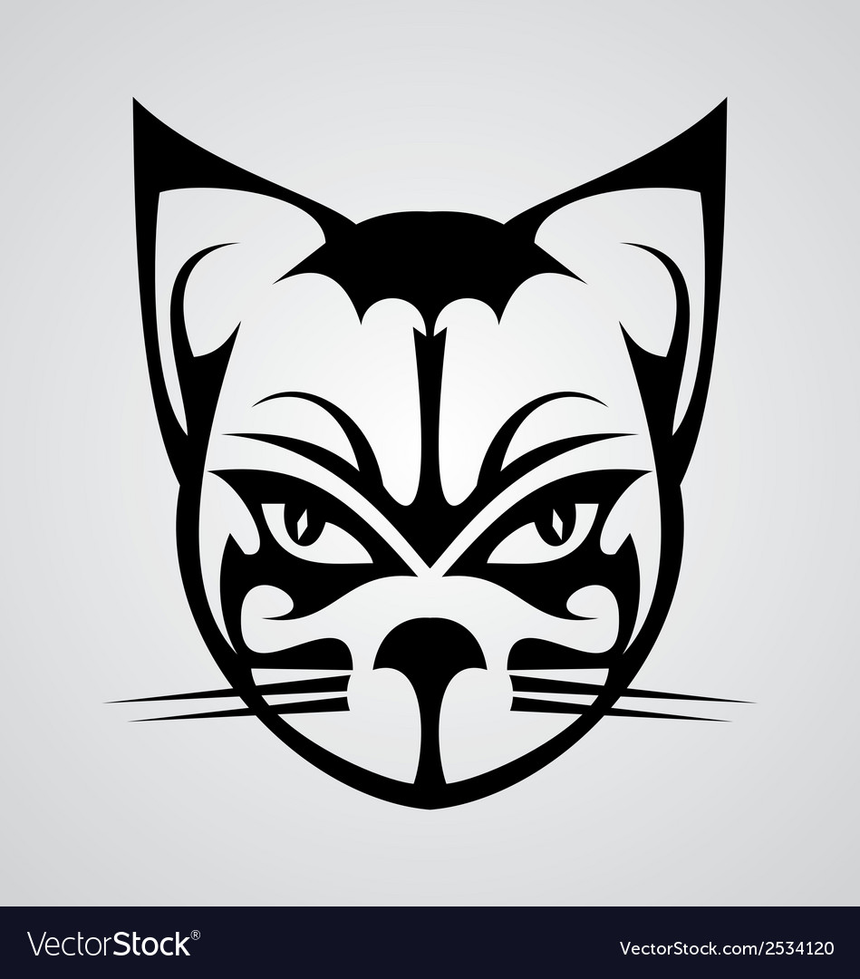 Cat face tattoo vector | Price: 1 Credit (USD $1)