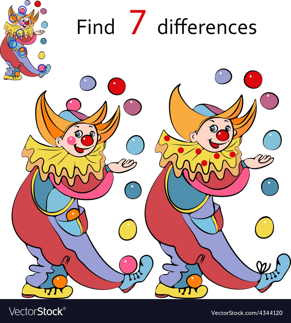 Clowns find the differences vector | Price: 1 Credit (USD $1)