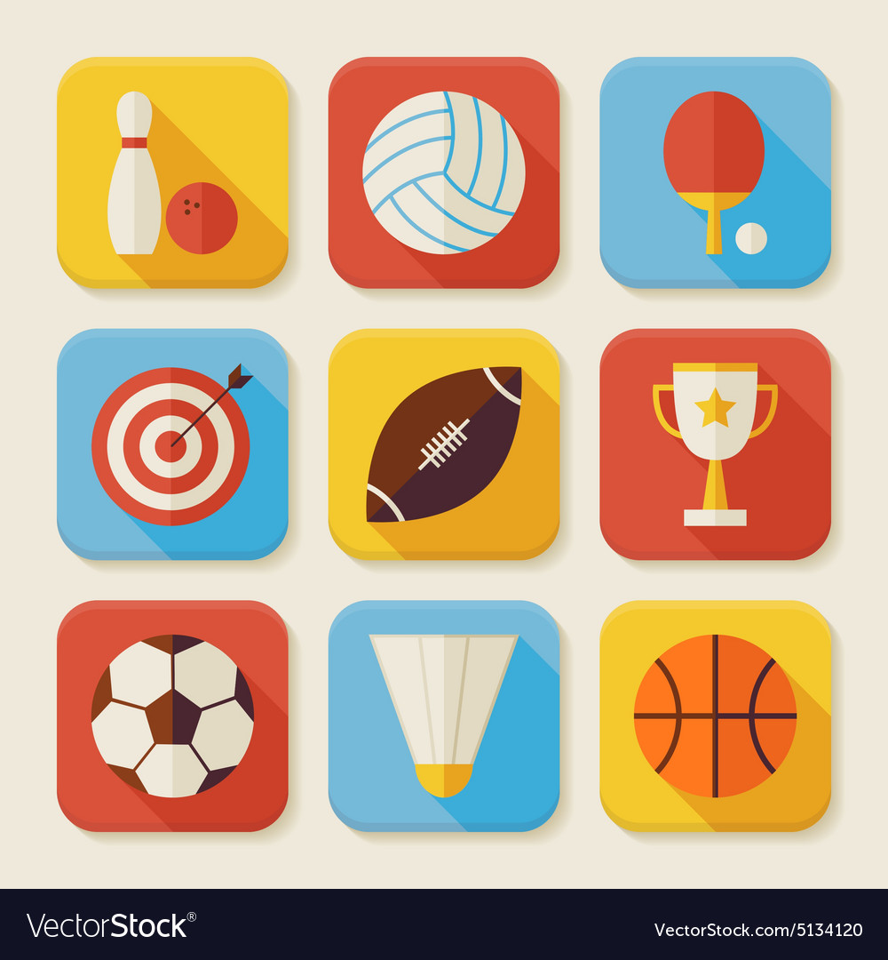 Flat sport and activities squared app icons set vector
