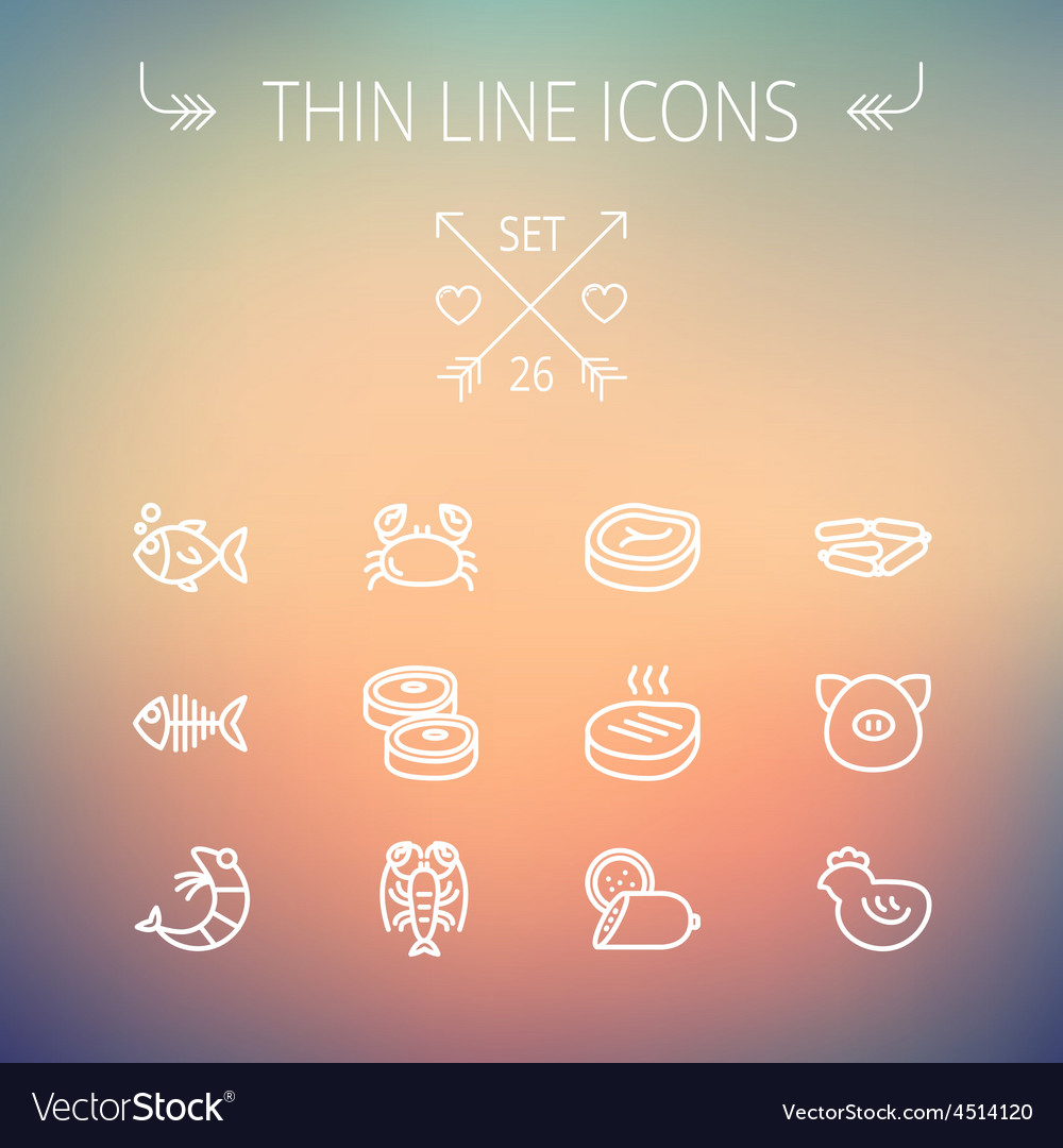 Food and drink thin line icon set vector | Price: 1 Credit (USD $1)