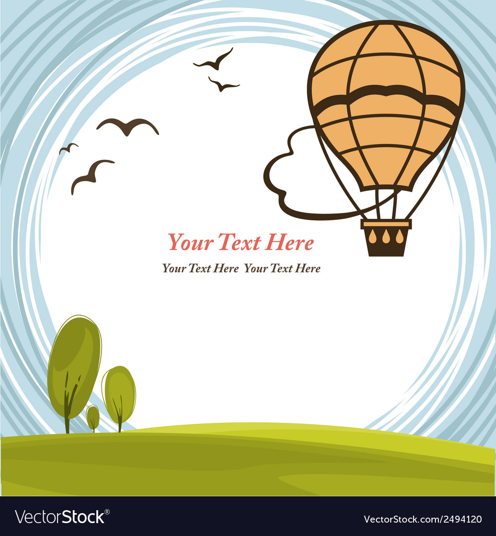 Frame with hot air balloon vector | Price: 1 Credit (USD $1)