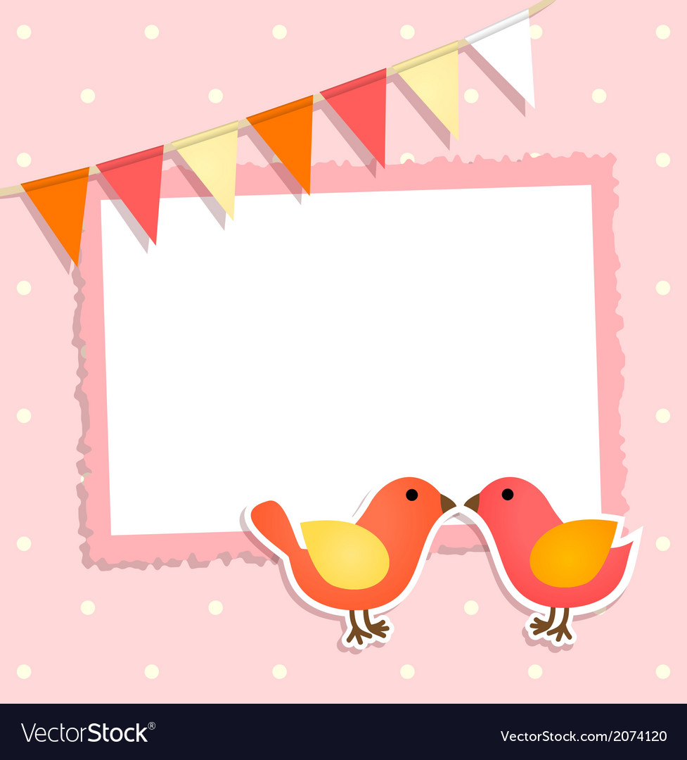 Holiday card with festive flags and birds vector | Price: 1 Credit (USD $1)