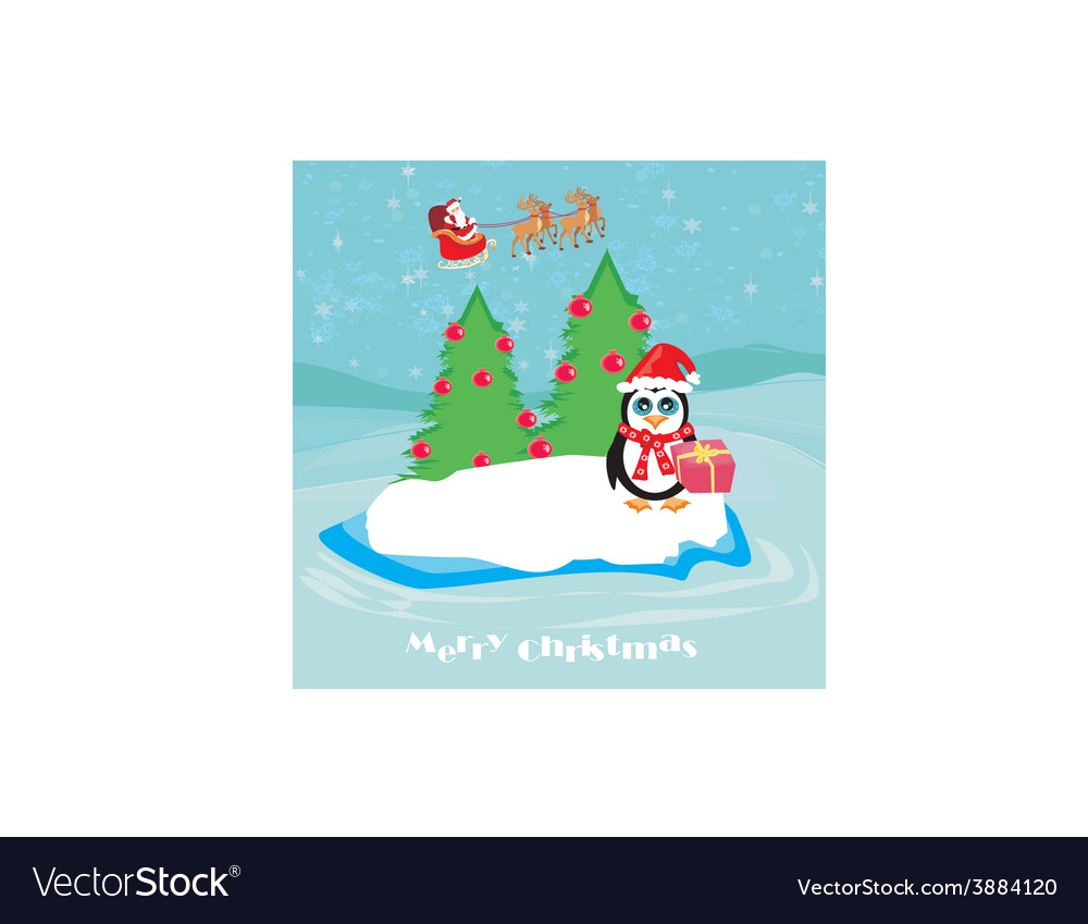 Penguin with christmas gift vector | Price: 1 Credit (USD $1)