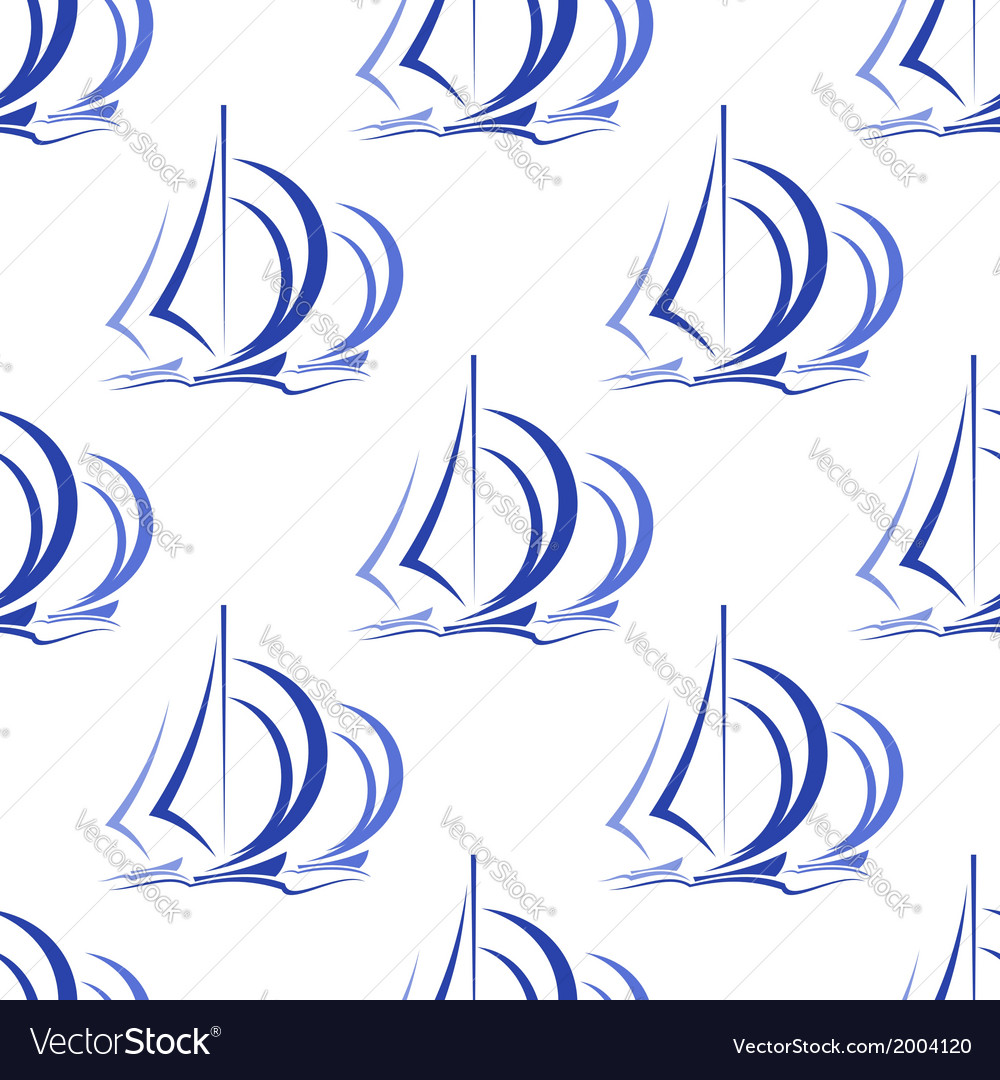 Seamless pattern of sailboats at sea vector | Price: 1 Credit (USD $1)
