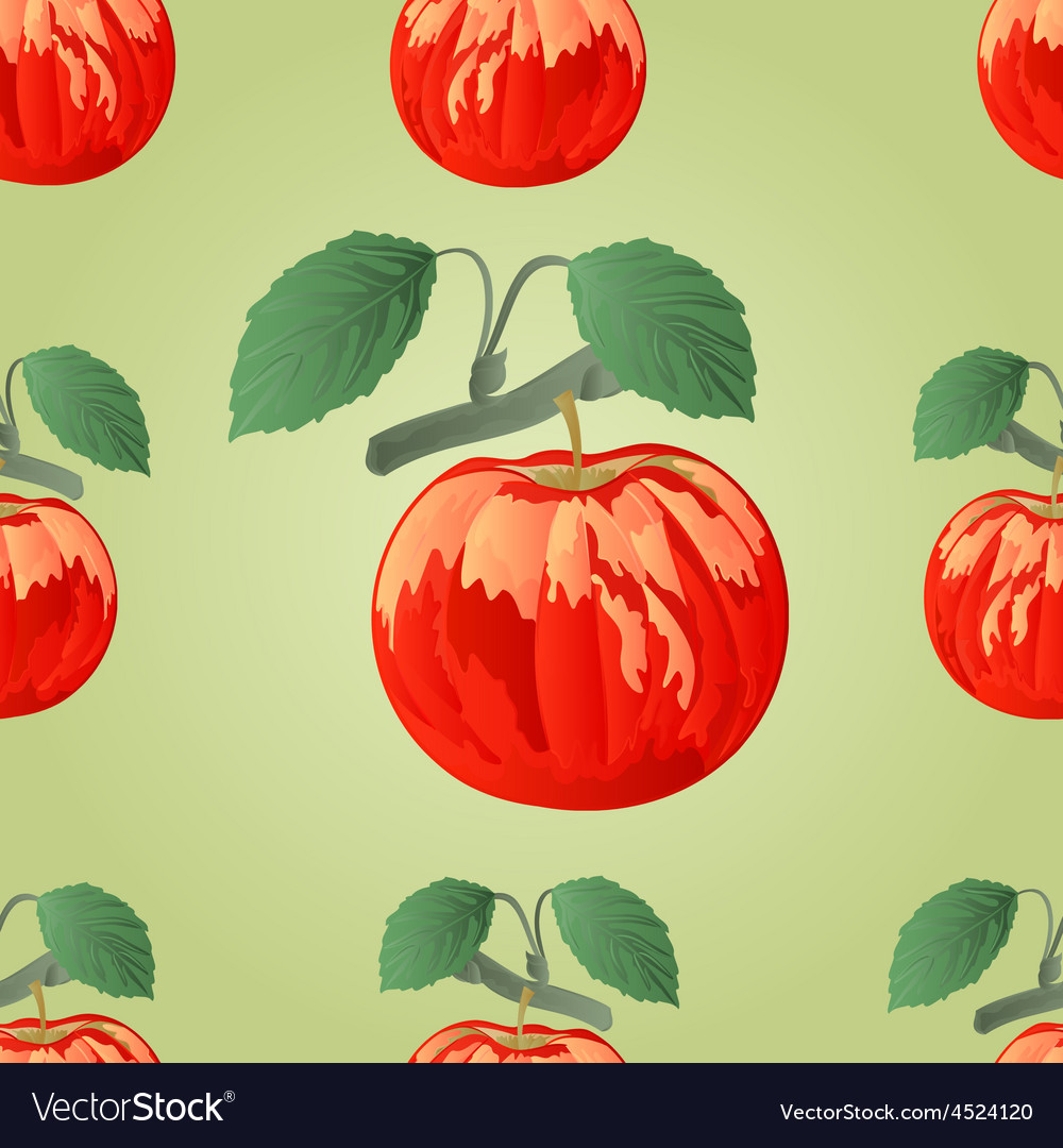 Seamless texture red apple with green leaves vector | Price: 1 Credit (USD $1)