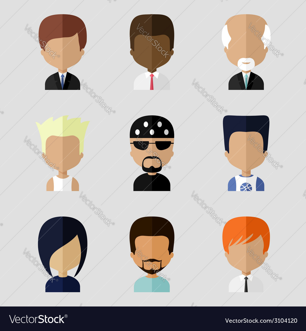 Set of men faces icons in flat design vector | Price: 1 Credit (USD $1)
