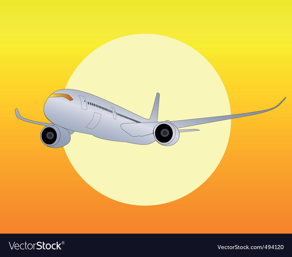 Silver airplane vector