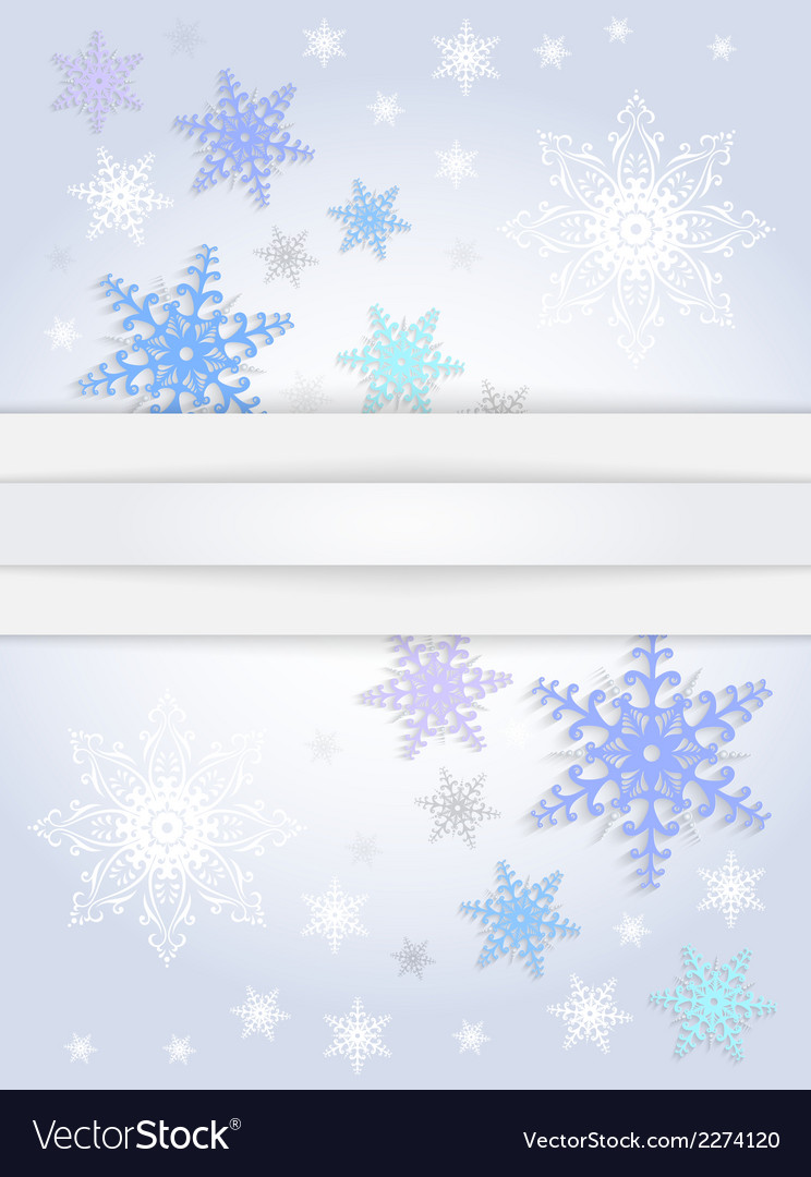 Snowflake background with banner vector | Price: 1 Credit (USD $1)