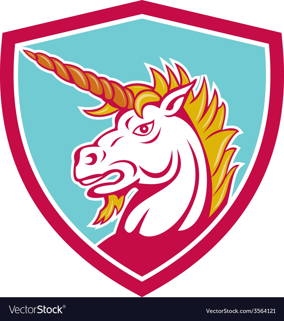 Angry unicorn head shield cartoon vector | Price: 1 Credit (USD $1)