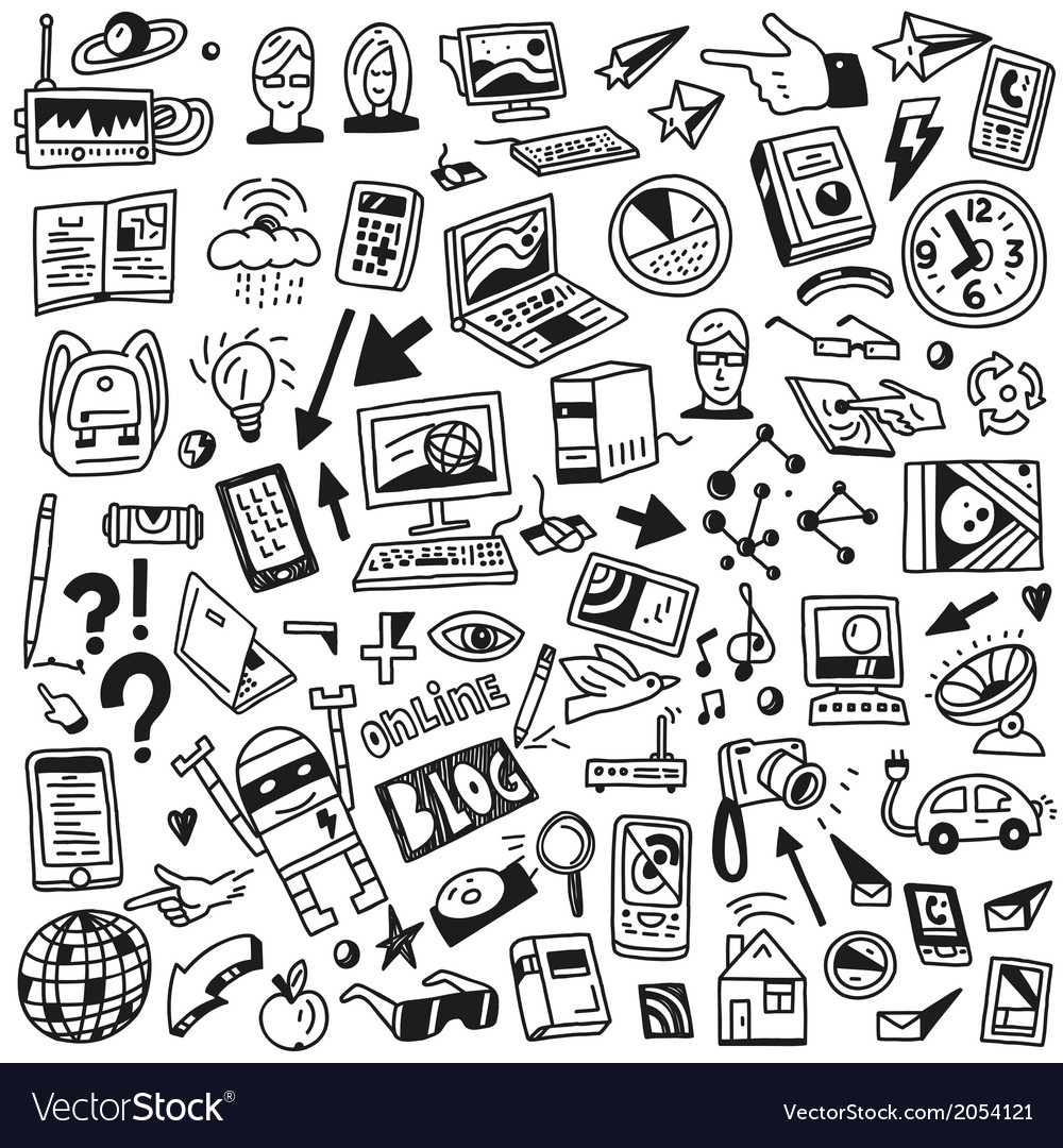 Devices  computers technology - doodles set vector | Price: 1 Credit (USD $1)