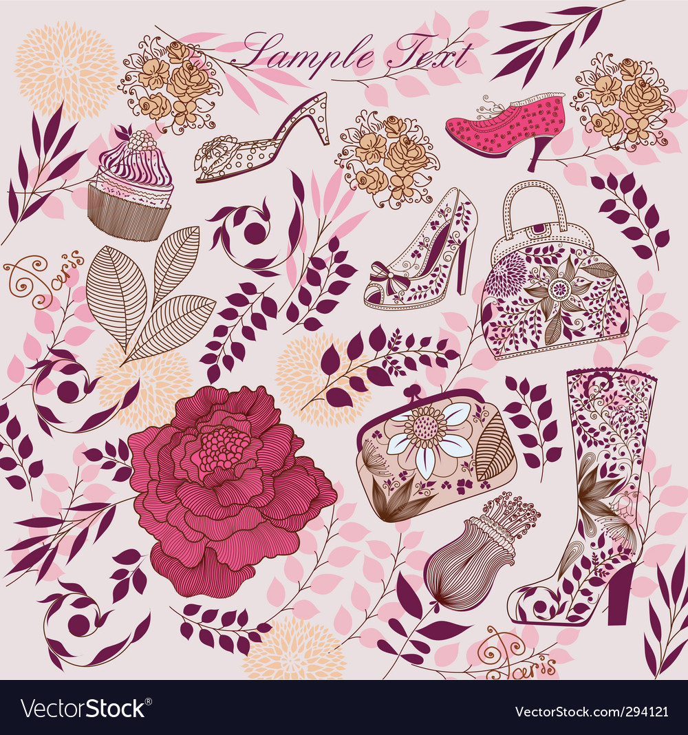 Flowers and shoes design vector | Price: 3 Credit (USD $3)