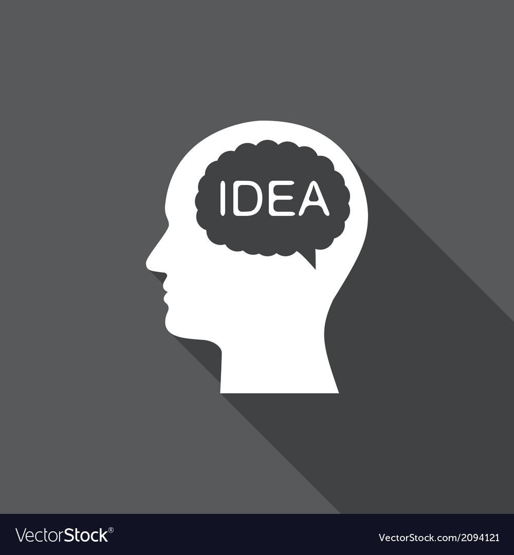 Idea head flat icon with long shadow vector | Price: 1 Credit (USD $1)