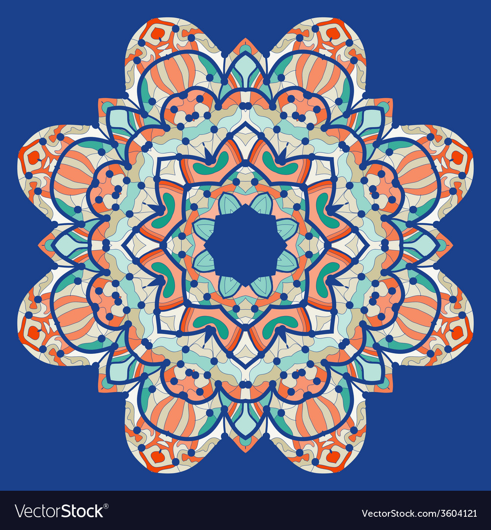 Ornamental colorful mandala square flyer card vector | Price: 1 Credit (USD $1)