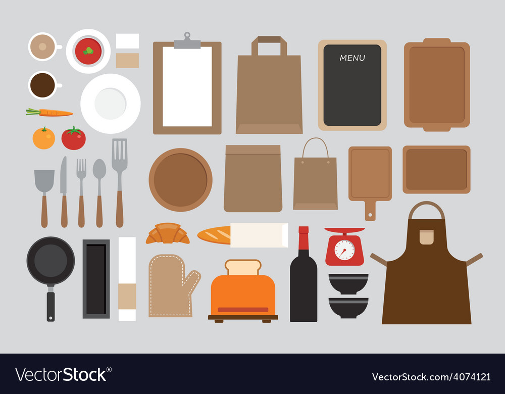 Set of mock up kitchen tool flat design vector | Price: 1 Credit (USD $1)
