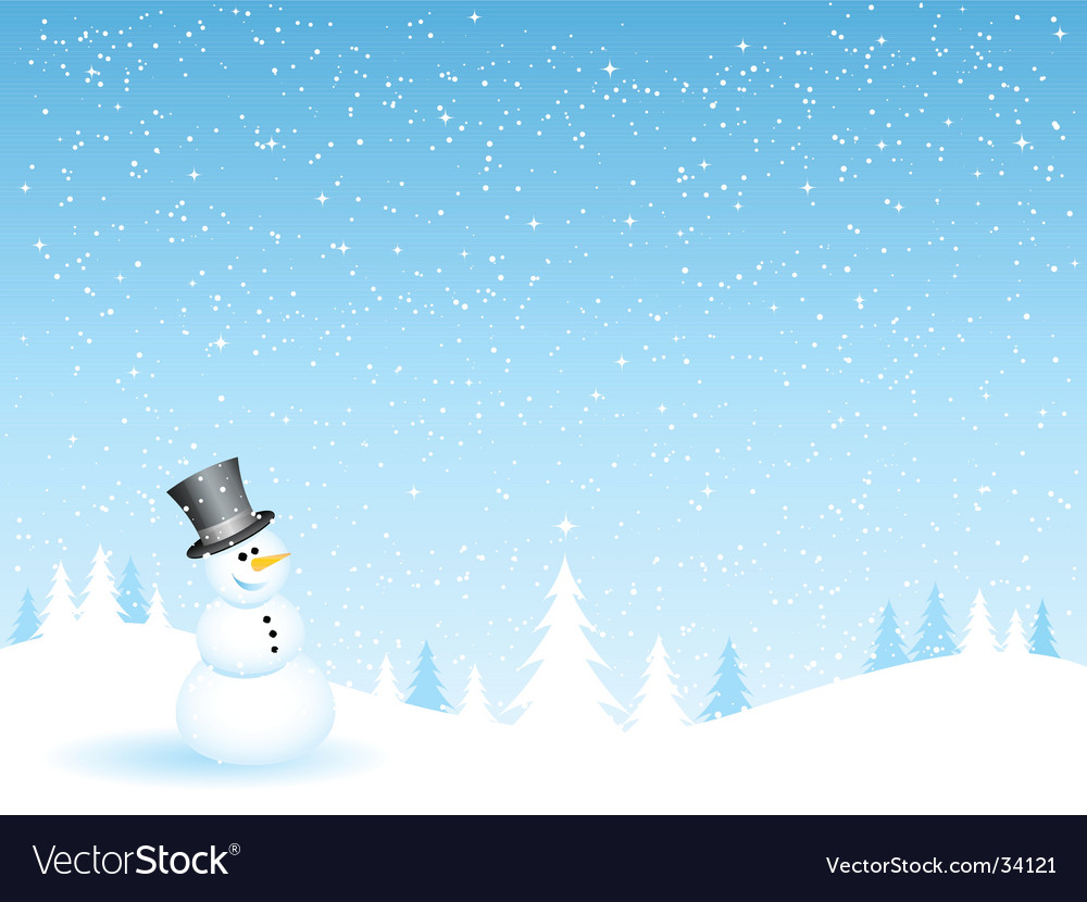 Snowman on a snowy night vector | Price: 1 Credit (USD $1)