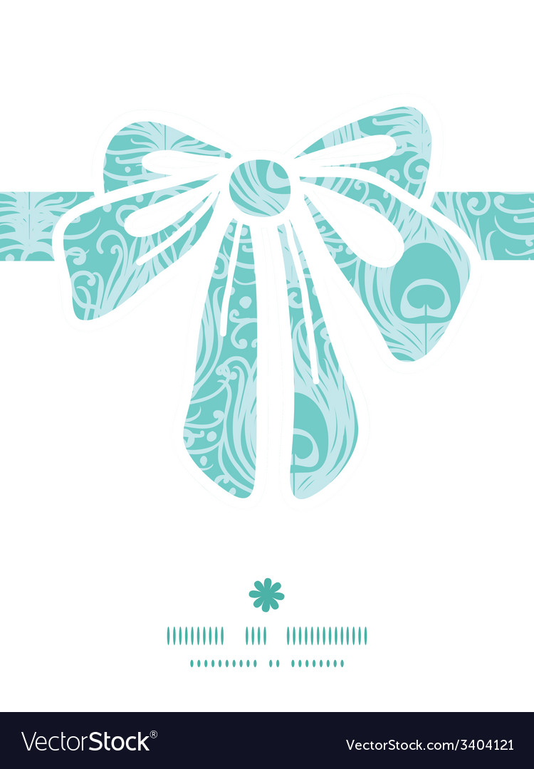 Soft peacock feathers gift bow silhouette pattern vector | Price: 1 Credit (USD $1)