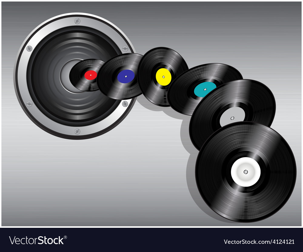 Speaker and flying records vector | Price: 1 Credit (USD $1)