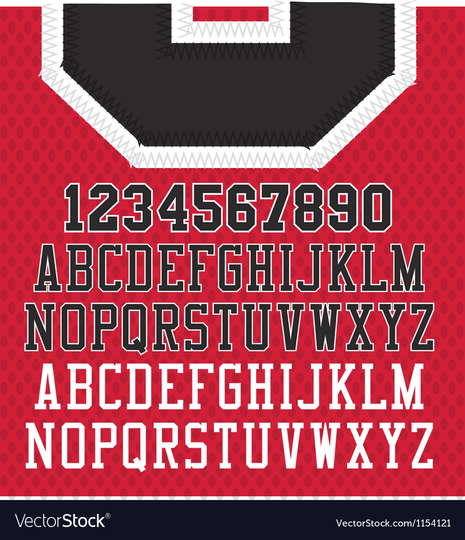Stitched sports numbers and letters vector | Price: 1 Credit (USD $1)