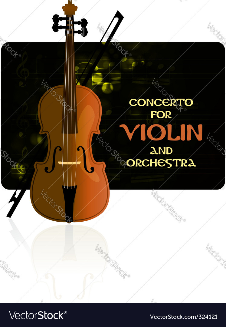 Violin with notes and bow vector | Price: 1 Credit (USD $1)