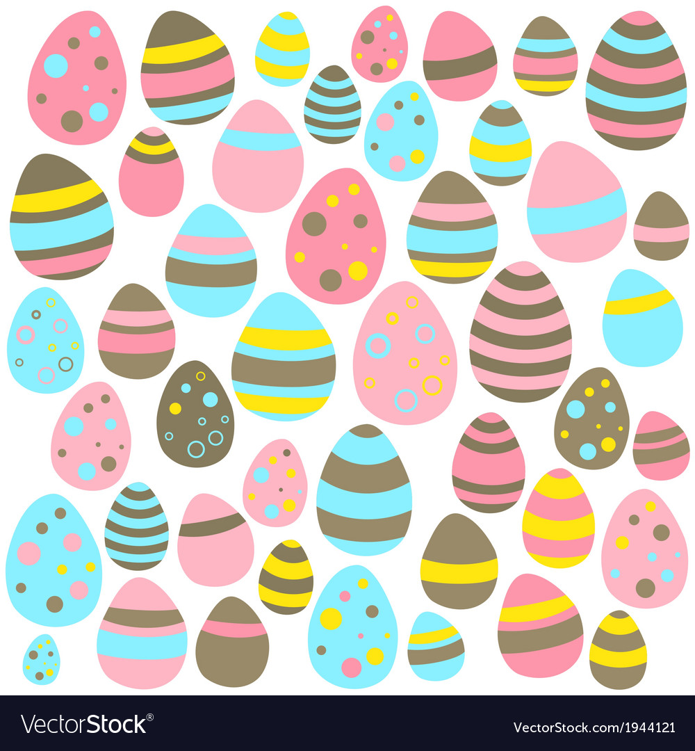 Yellow blue and pink easter eggs seamless texture vector | Price: 1 Credit (USD $1)