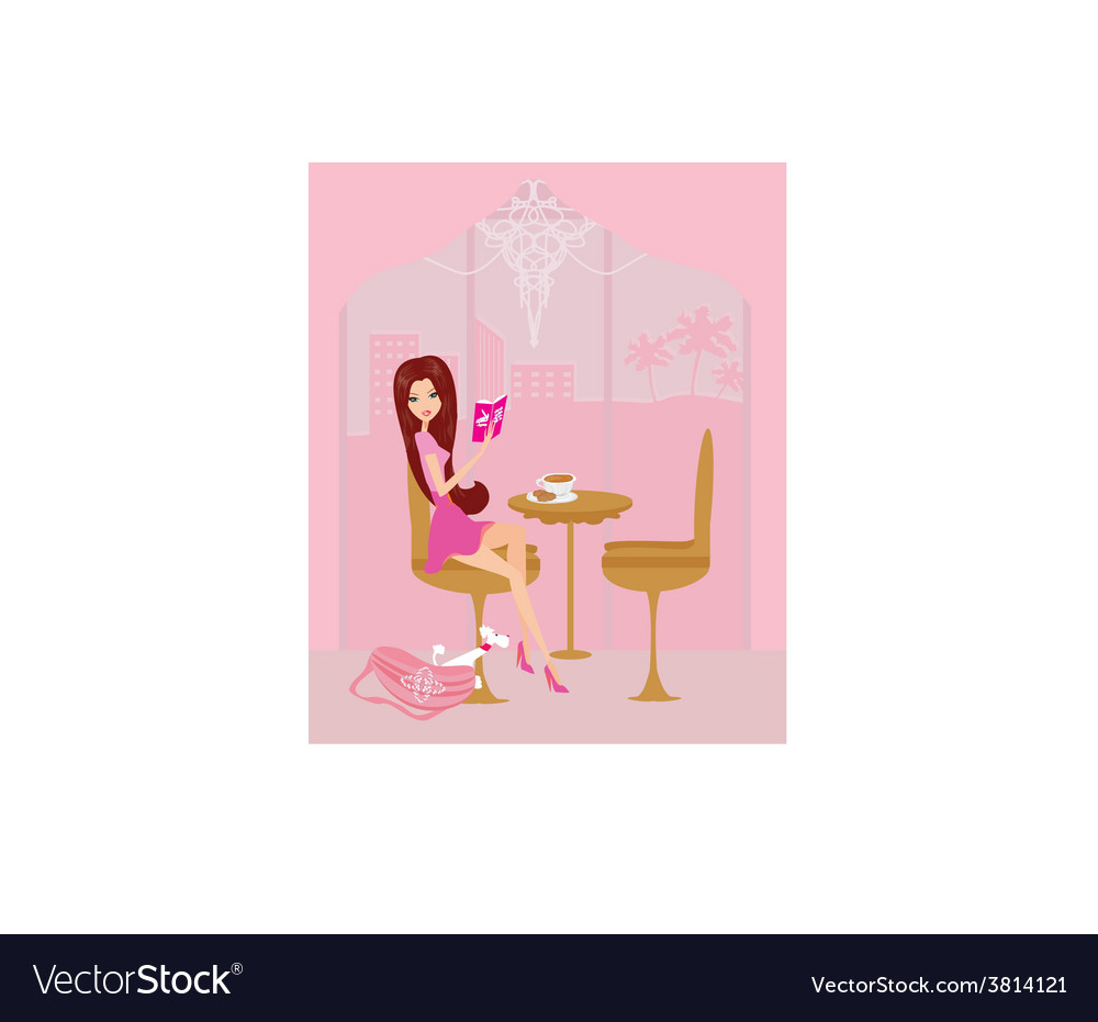 Young woman reading book in coffee break vector | Price: 1 Credit (USD $1)