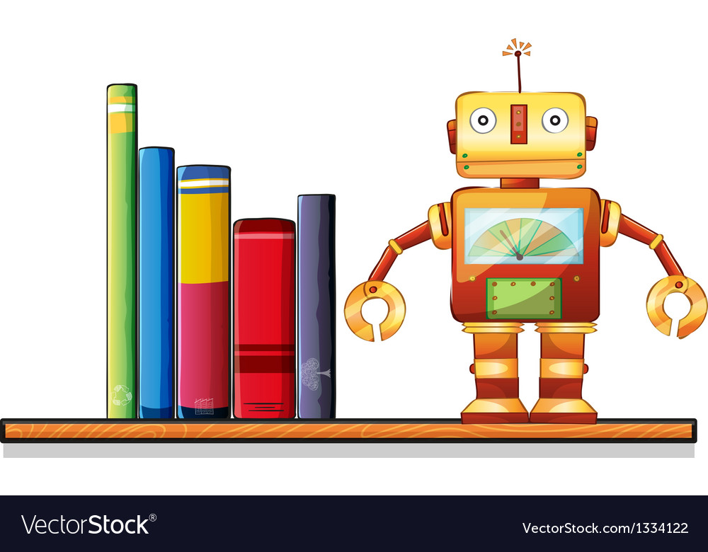 A wooden shelf with a robot and books vector | Price: 1 Credit (USD $1)