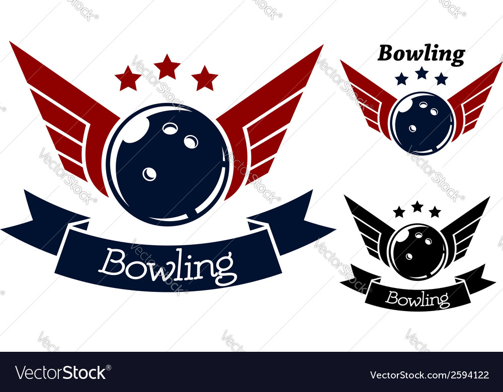 Bowling symbols with wings vector | Price: 1 Credit (USD $1)