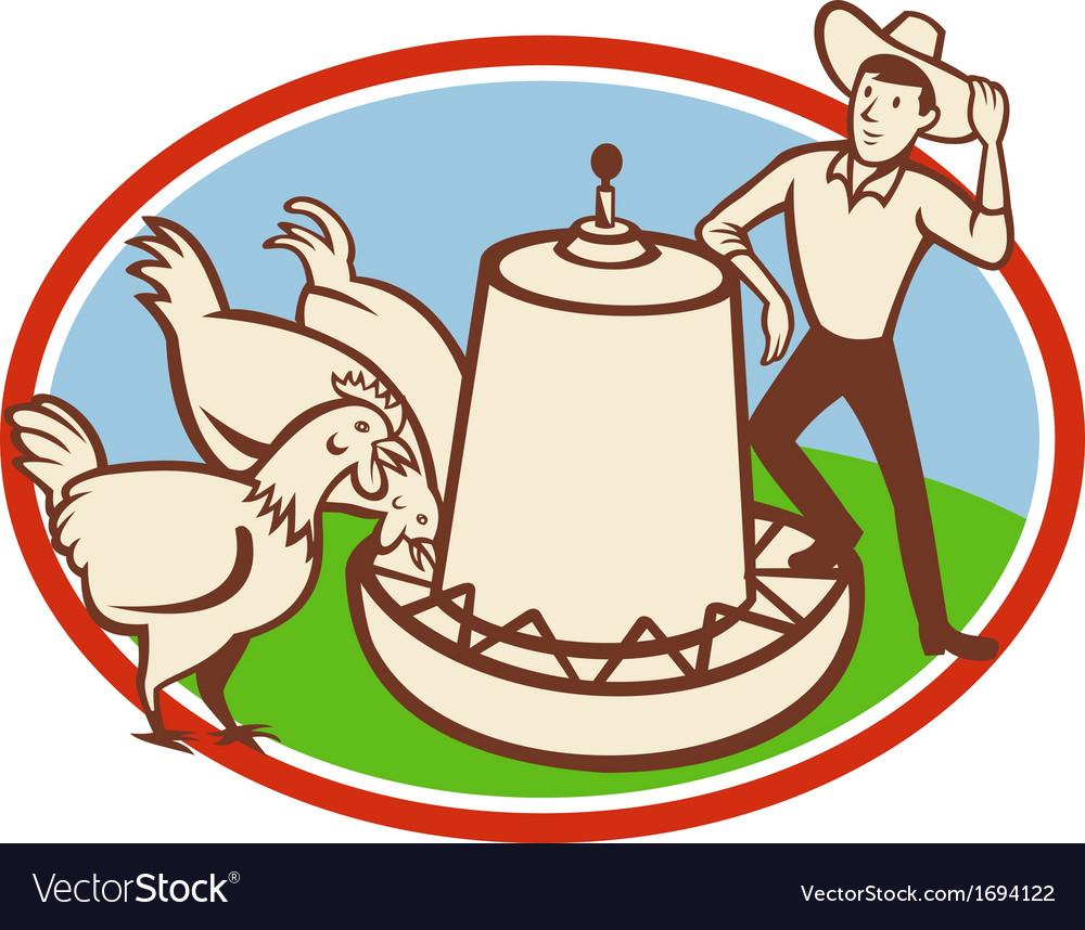Chicken farmer feeder cartoon vector | Price: 1 Credit (USD $1)