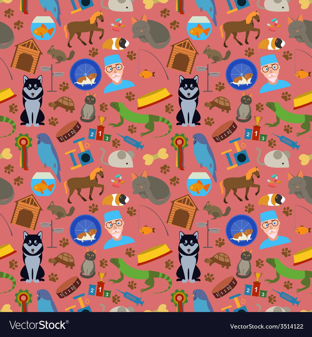 Domestic pets background pattern vector | Price: 1 Credit (USD $1)