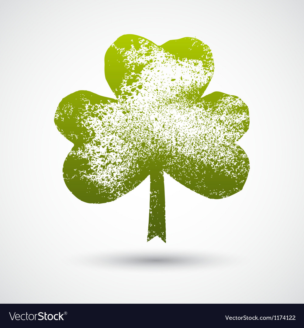 Grunge leaf clover on a white background vector | Price: 1 Credit (USD $1)