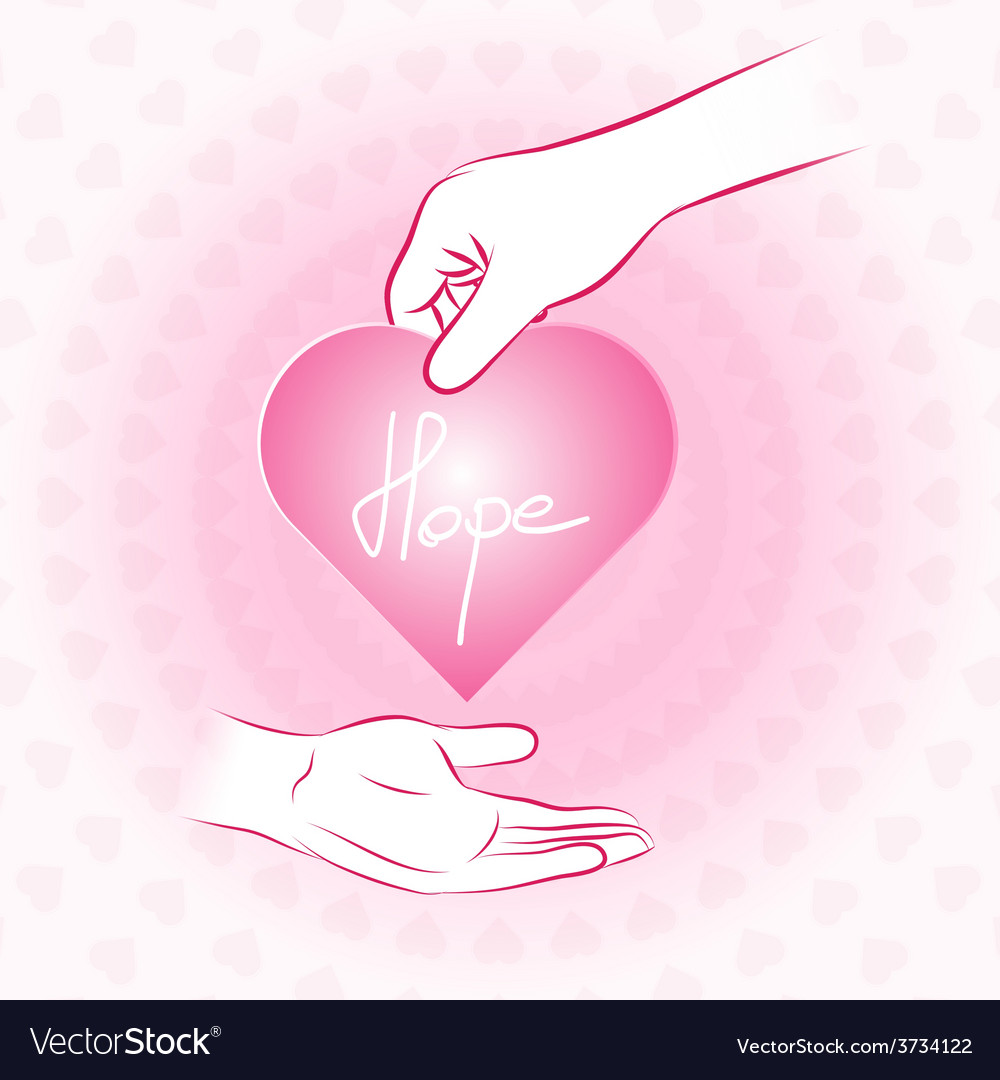 Hand holding pink heart with hope and give or vector | Price: 1 Credit (USD $1)