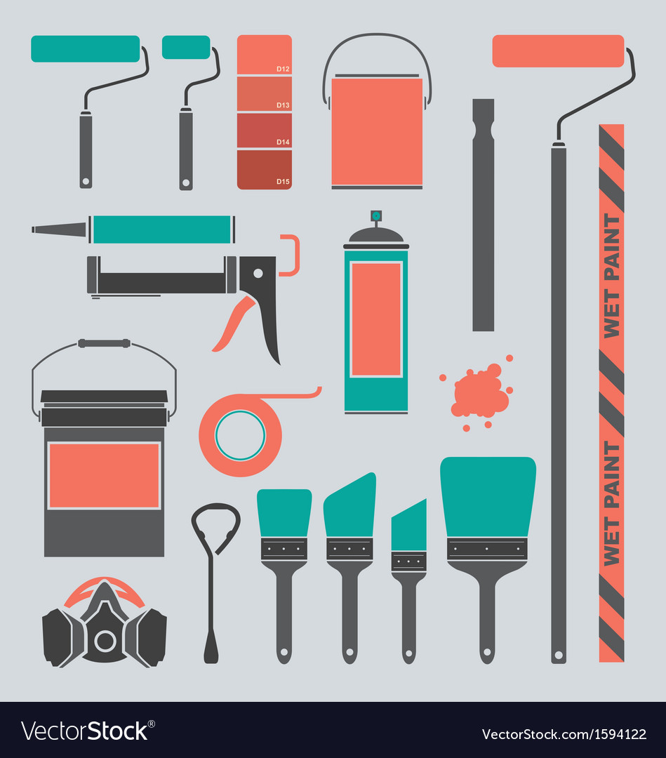 Retro painting supplies silhouettes and icons vector | Price: 1 Credit (USD $1)