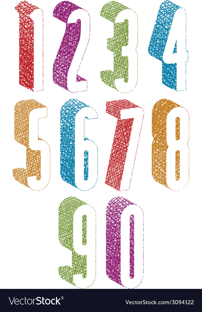 Retro style 3d tall condensed numbers set with vector | Price: 1 Credit (USD $1)