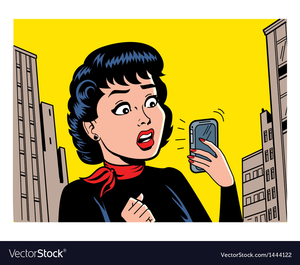 Retro woman with phone vector | Price: 3 Credit (USD $3)