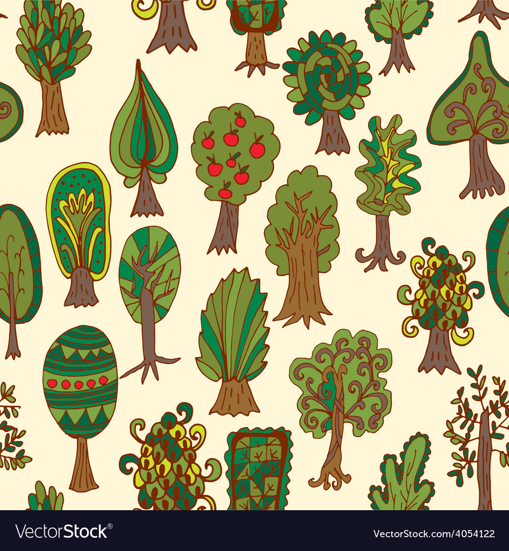 Seamless hand-drawn pattern with doodle forest vector | Price: 1 Credit (USD $1)
