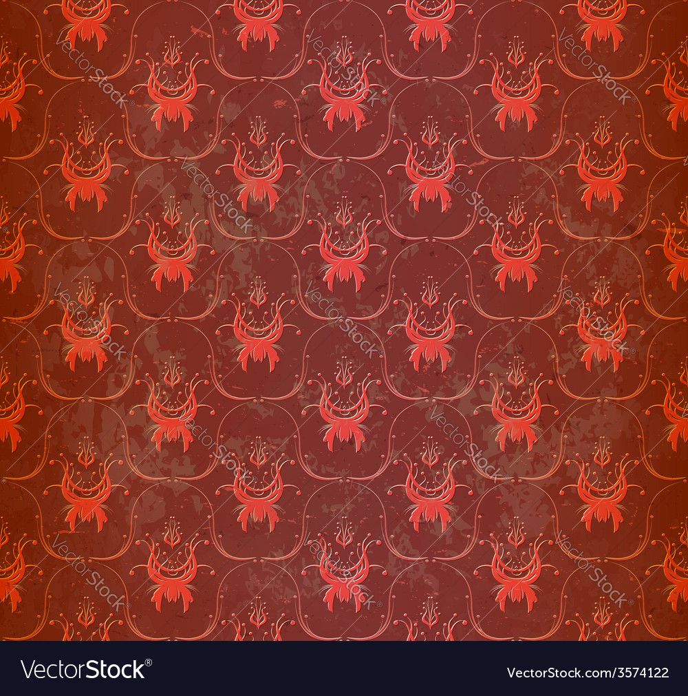 Seamless red wallpaper with floral ornament vector | Price: 1 Credit (USD $1)