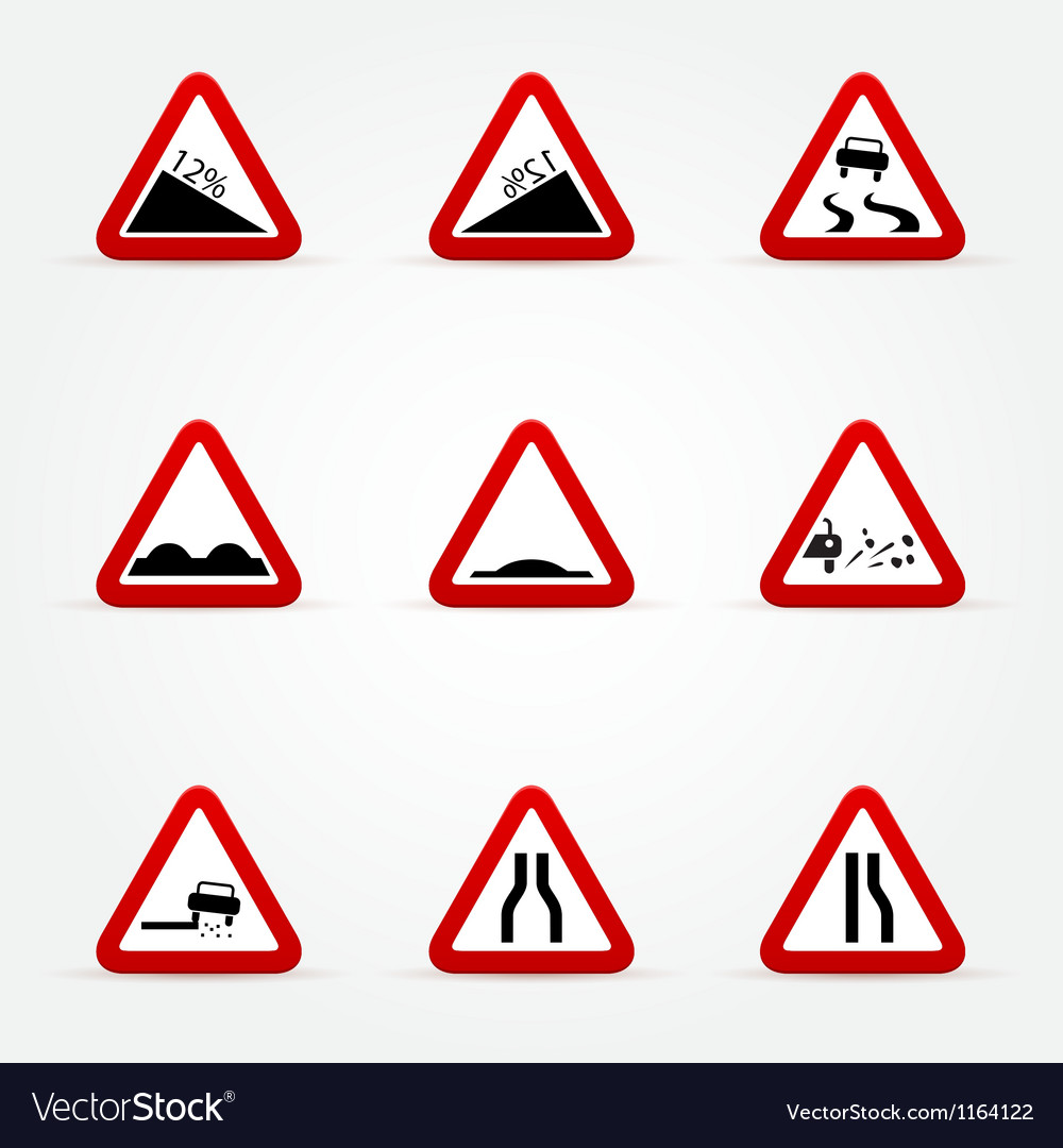 Set of warnings road signs vector | Price: 1 Credit (USD $1)
