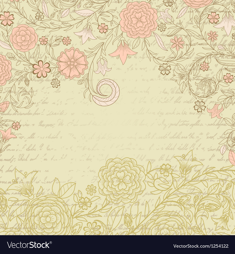 Vintage grungy background with flowers and letter vector | Price: 1 Credit (USD $1)
