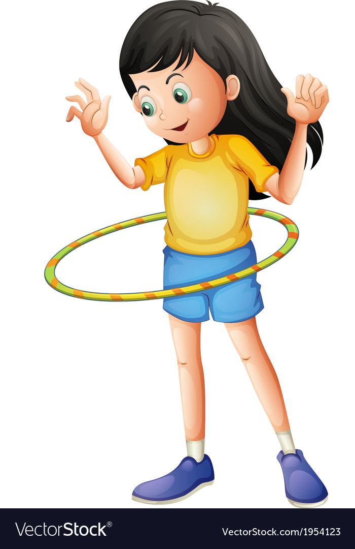 A young girl playing with a hulahoop vector | Price: 1 Credit (USD $1)