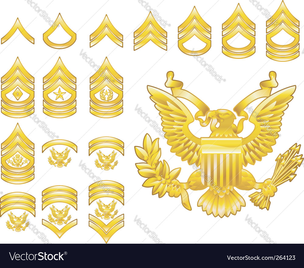 Army rank insignia icons vector | Price: 1 Credit (USD $1)