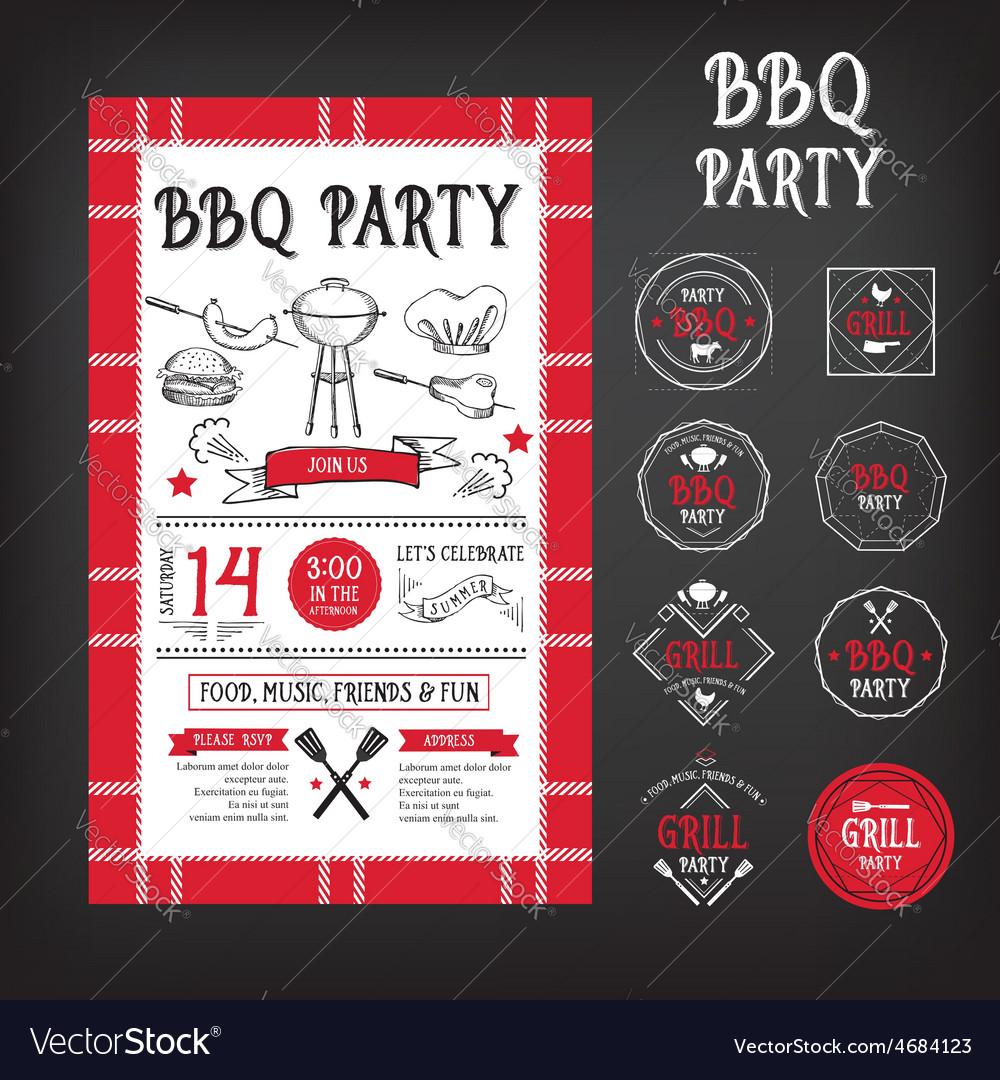 Barbecue party invitation bbq template menu design vector | Price: 1 Credit (USD $1)