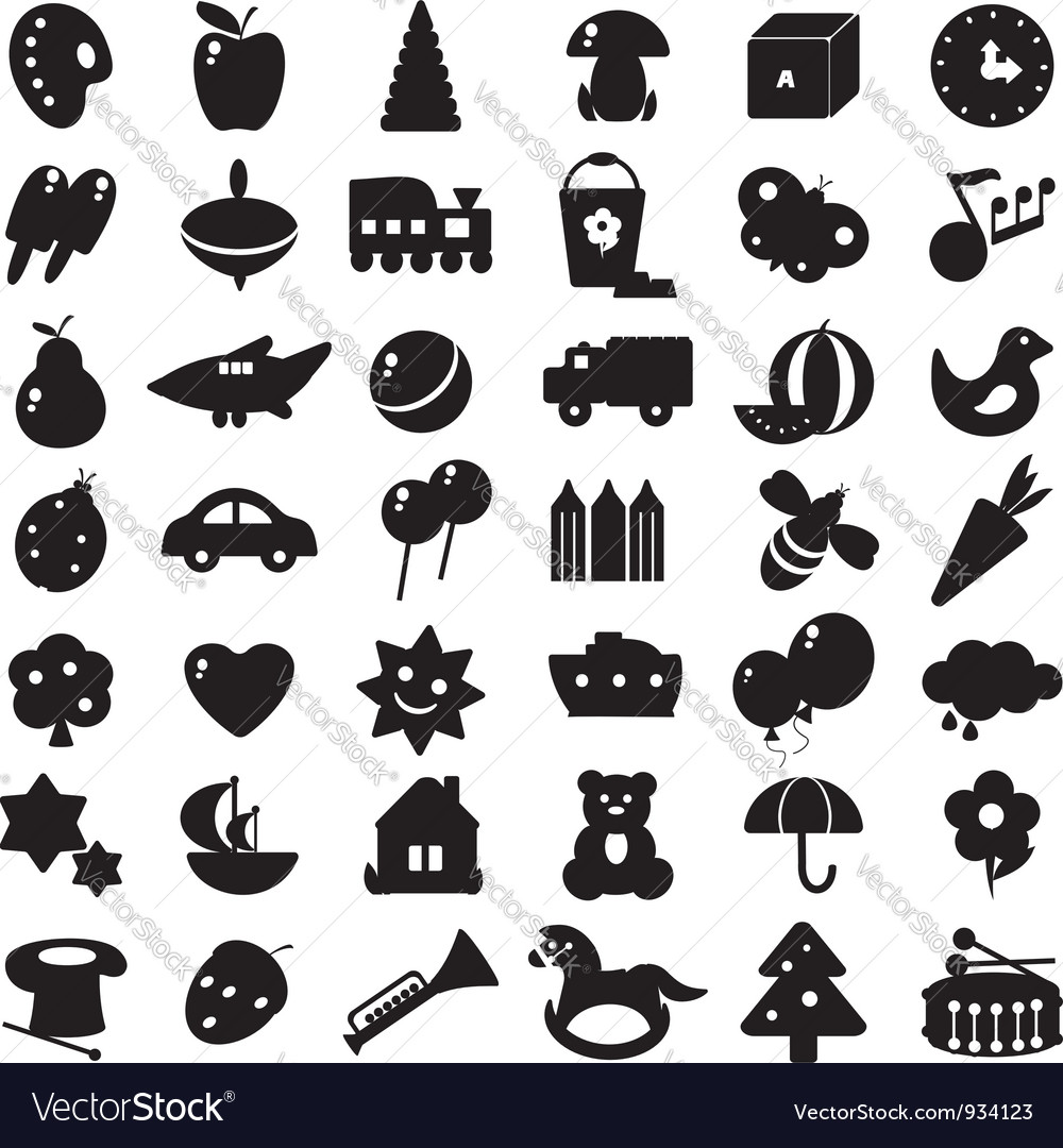 Black silhouettes toys vector | Price: 1 Credit (USD $1)