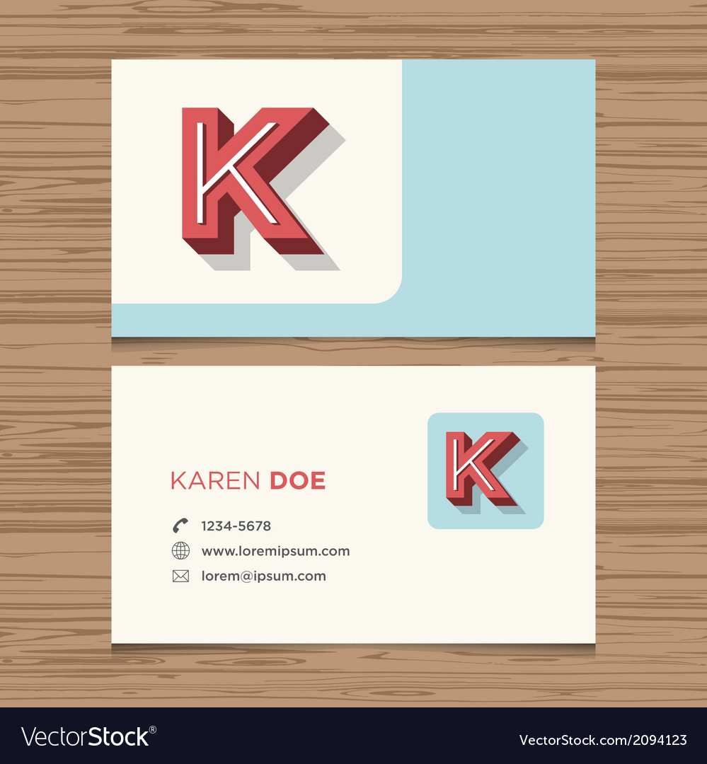 Business card letter k vector | Price: 1 Credit (USD $1)
