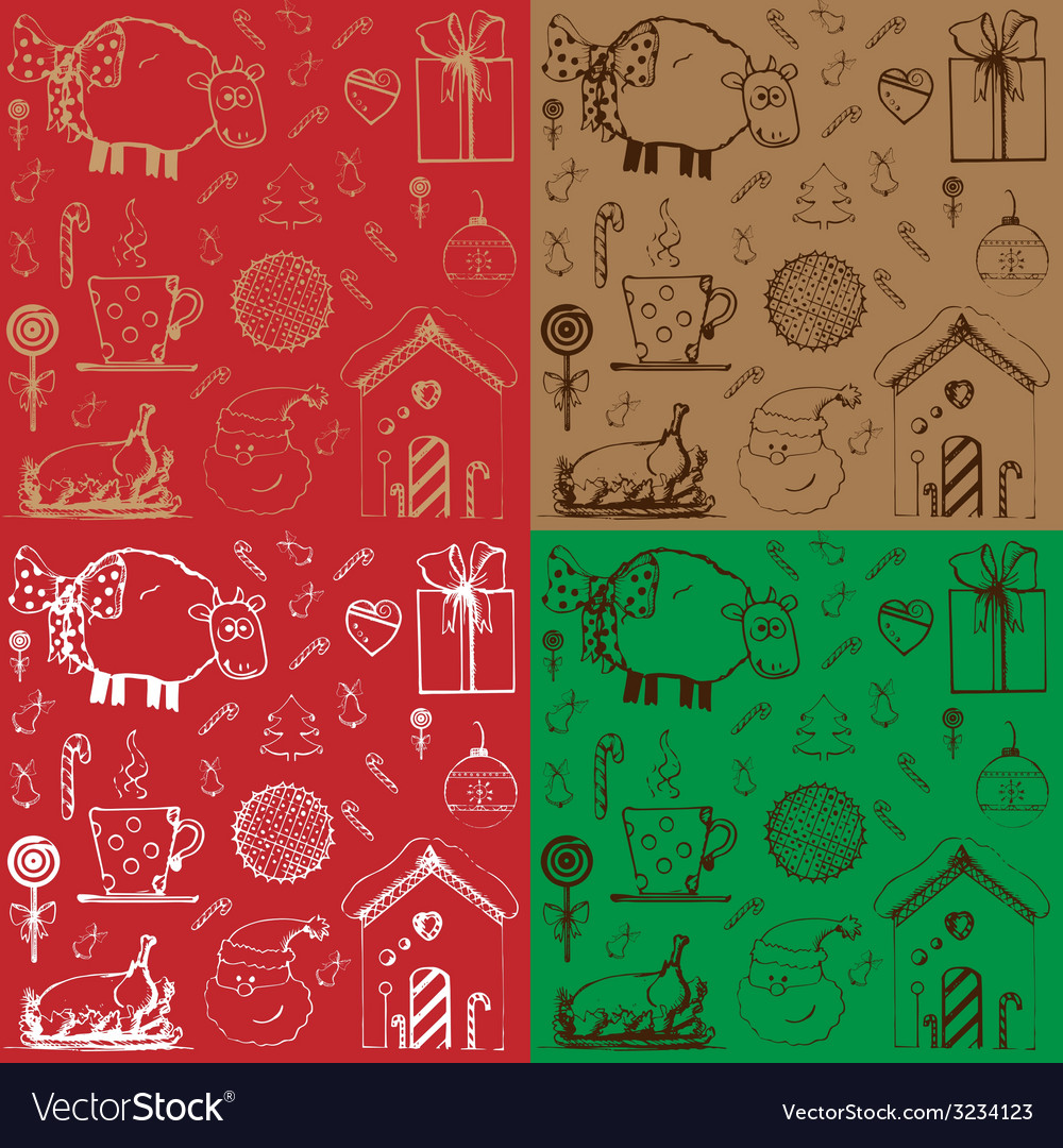 Christmas pattern sketch vector | Price: 1 Credit (USD $1)